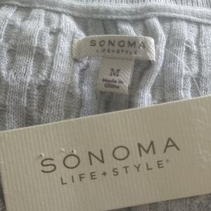 Sonoma Sweaters - NWT Cable Knit V Neck Pale Gray Sonoma Sweater